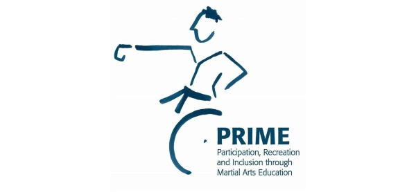 White background, with blue strokes picturing a stylized man with a kimono and a belt in a wheelchair punching with his right arm. On the lower right hand side is written: Prime Participation, Recreation and Inclusion through Martial Arts Education